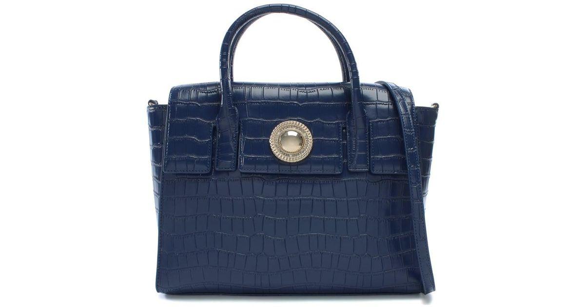 c85c106978 Versace Jeans Blue Plaque Navy Moc Croc Satchel Bag