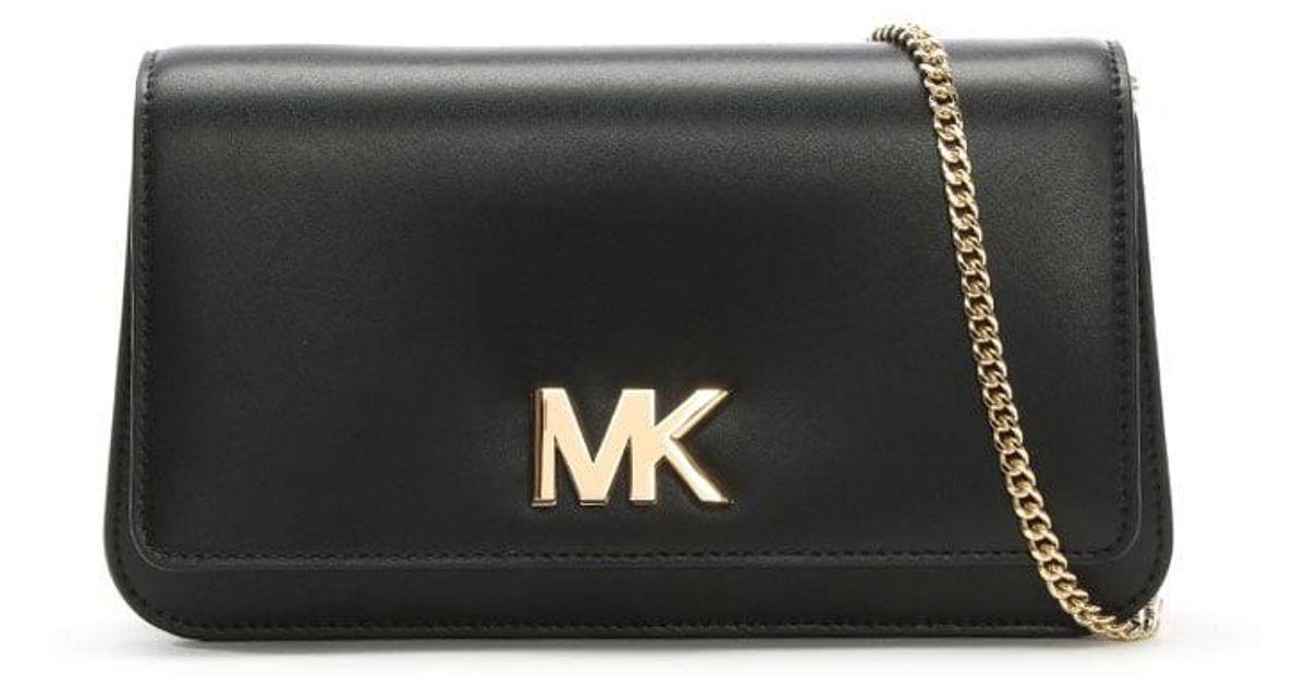 39c5111e8859 Michael Kors Mott Black Leather Large Clutch Bag in Black - Lyst