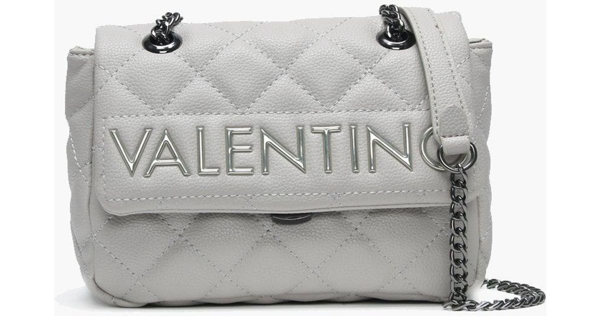 e03bd6083b663 Valentino By Mario Valentino Small Licia Grey Quilted Logo Cross-body Bag  in Gray - Lyst