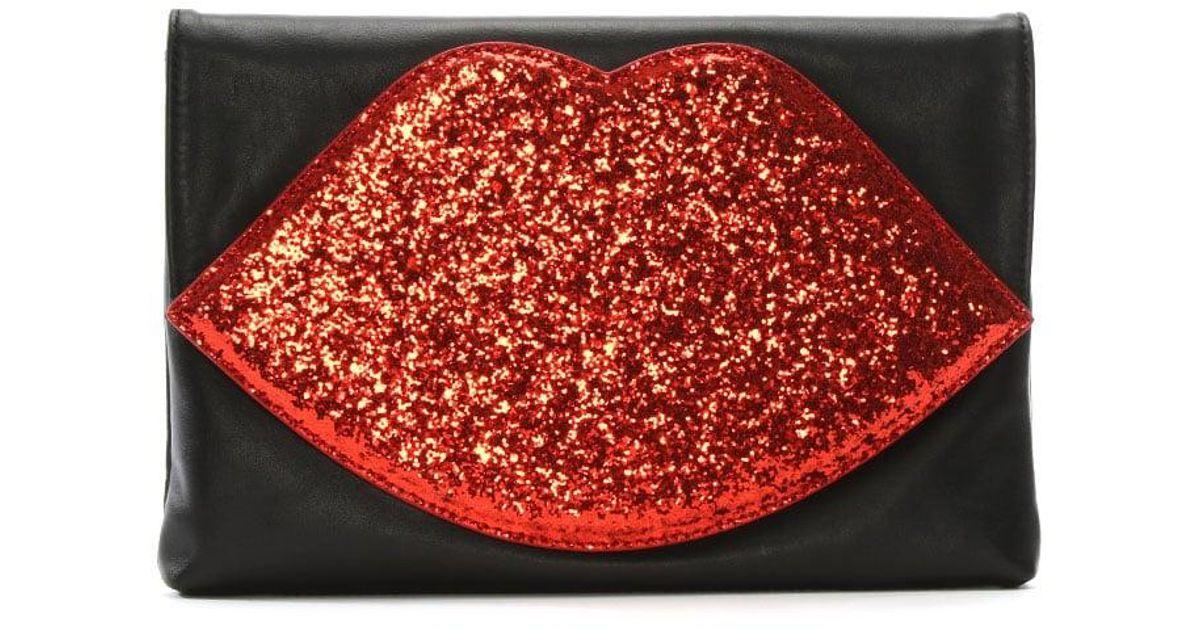 025f5204f401 Lulu Guinness Luna Red Glitter Lips Clutch Bag in Red - Lyst