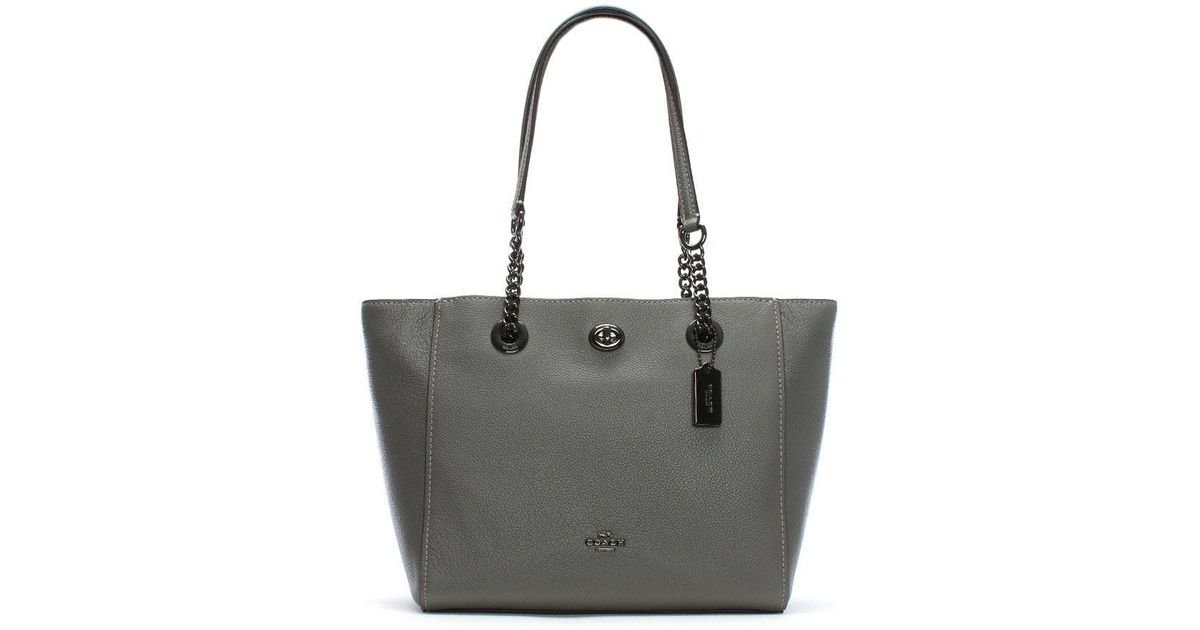 5cc388fc85d7 Lyst - COACH Turnlock Chain Heather Grey Leather Tote Bag in Gray