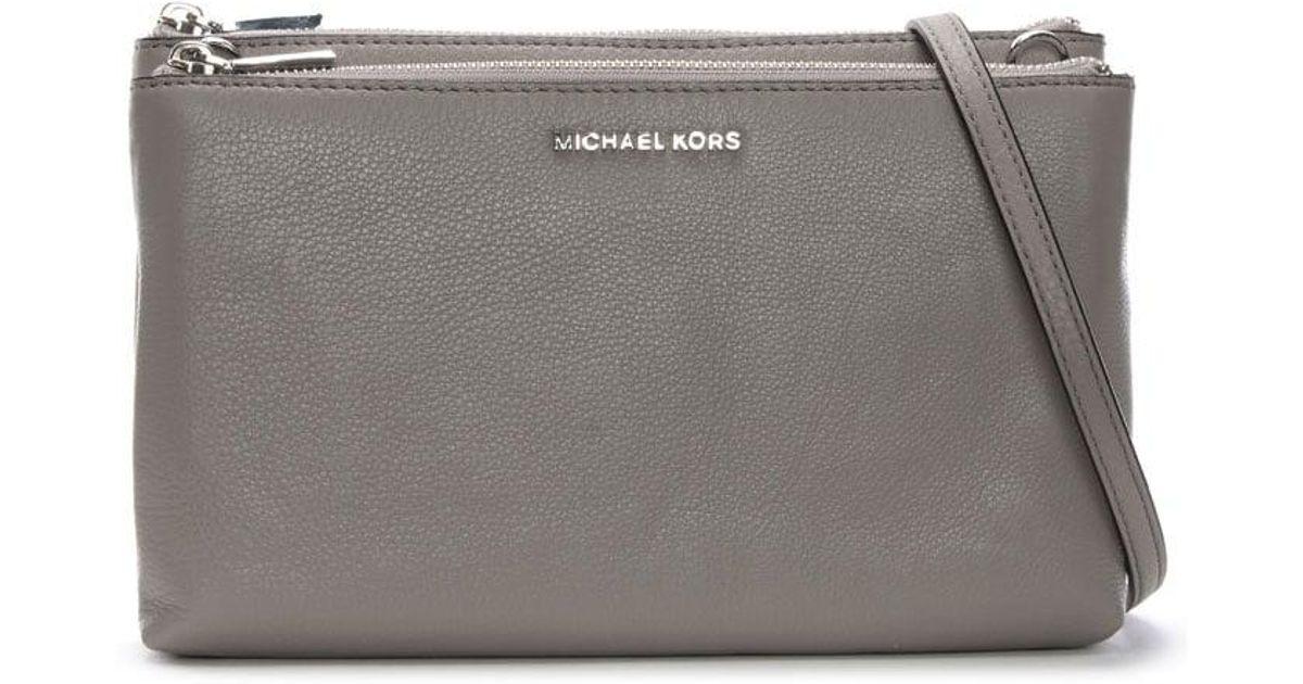 ebc137760c18 Michael Kors Gusset Pearl Grey Pebbled Leather Cross-body Bag in Gray - Lyst