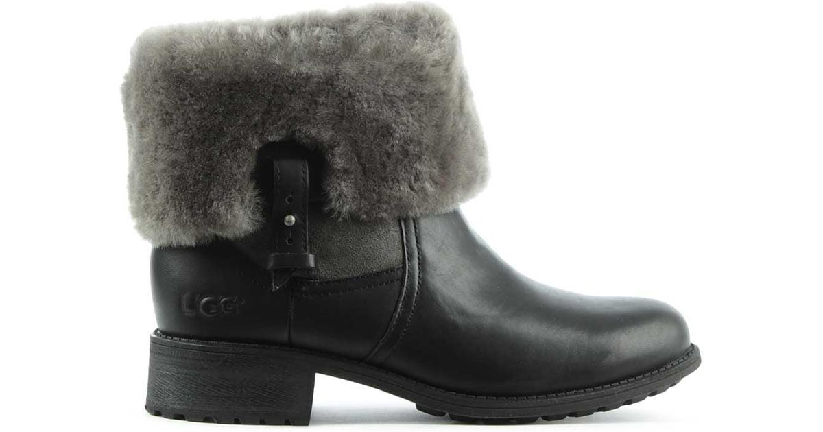 995ff4ed0f6 Ugg Chyler Black Leather Cuffed Ankle Boot