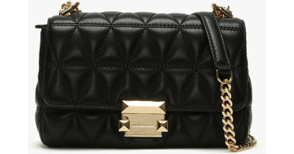 b0342d922d0738 Lyst - Michael Kors Small Sloan Ii Black Quilted Leather Cross-body Bag in  Black