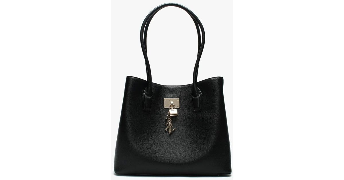 9bb345cf0 DKNY Large Elissa Black Leather Tote Bag in Black - Lyst