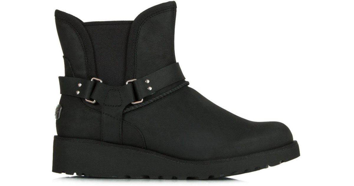 82e22e376f8 Ugg Petra Black Leather Water Resistant Fixed Strap Ankle Boot
