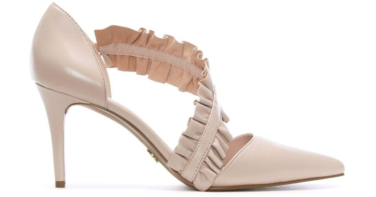 a65ab7fe08f Michael Kors Bella Soft Pink Leather Ruffle Strap Heeled Pumps