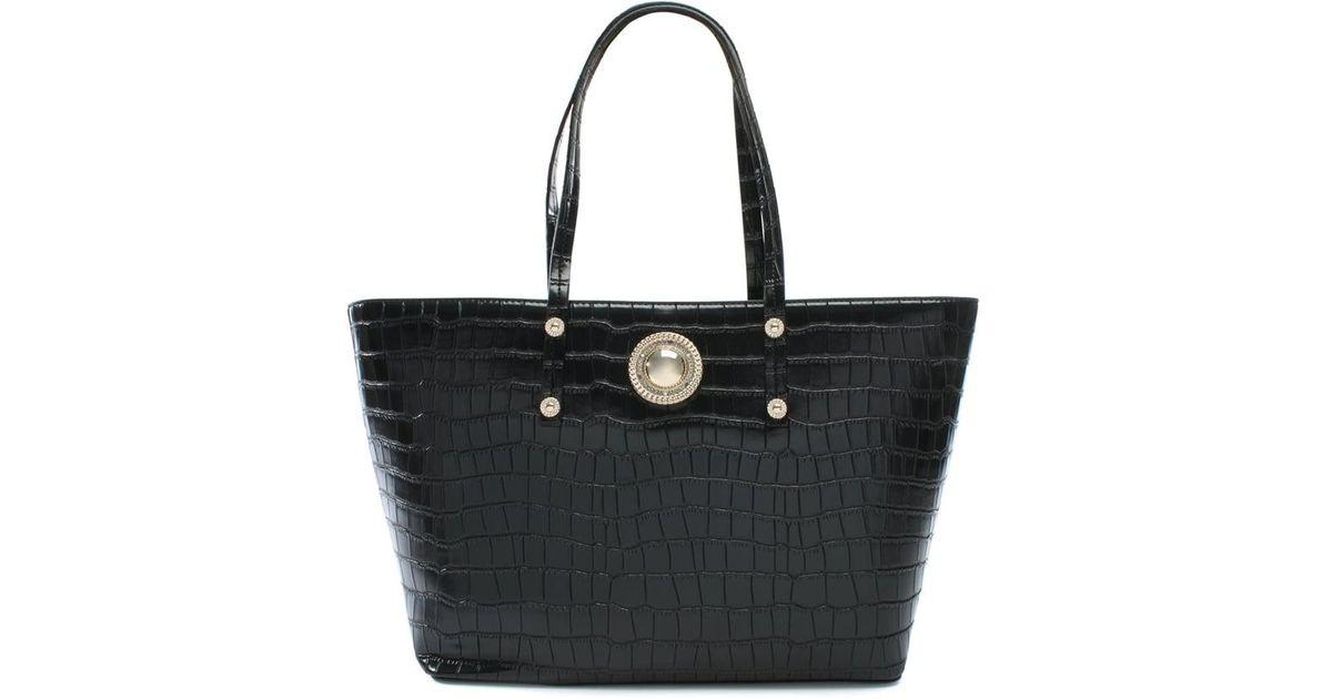 Versace Jeans Plaque Black Moc Croc Tote Bag in Black - Lyst 0d93f67d15