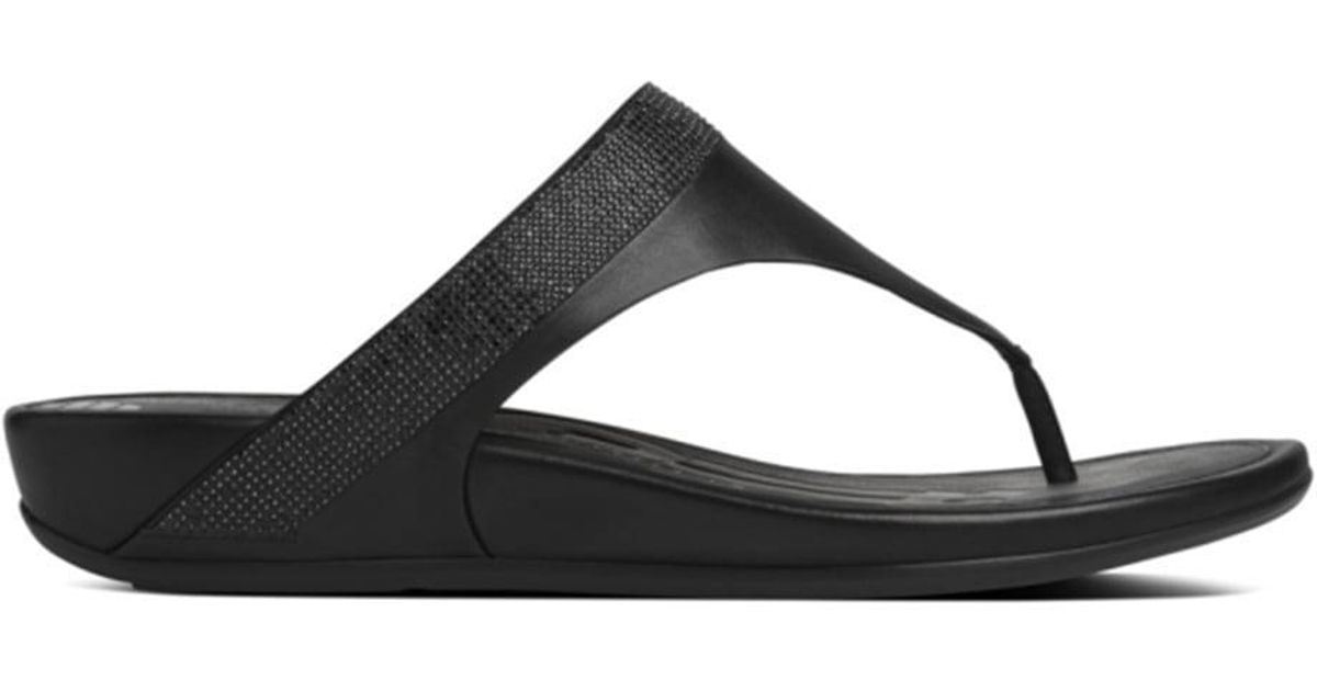 2499f92fe4b53 Lyst - Fitflop Black Leather Banda Micro Crystal Toe Post Sandal in Black