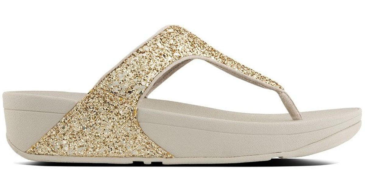 5aece3ac89a42c Fitflop Glitterball Gold Metallic Toe Post Sandals in Metallic - Save  30.769230769230774% - Lyst