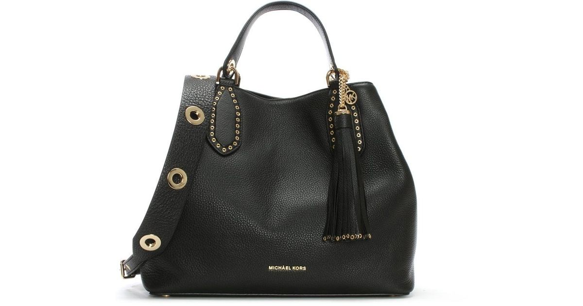 50074014ab81 ... italy lyst michael kors brooklyn grommet black leather tote bag in black  000b4 1dc4a