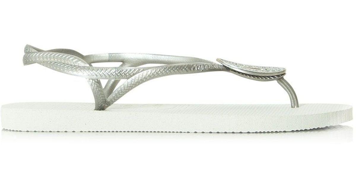 8a072084f Havaianas Luna Special Swarovski Crystal White Flip Flop in White - Lyst