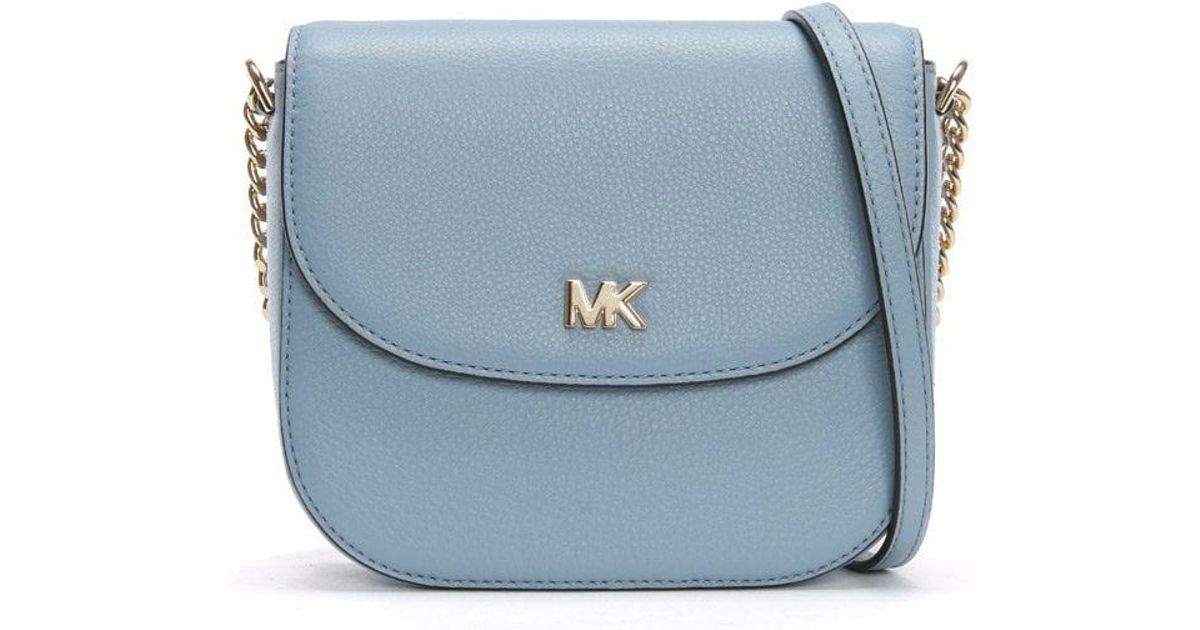 19271142b8f1 Lyst - Michael Kors Half Dome Pale Blue Leather Cross-body Bag in Blue