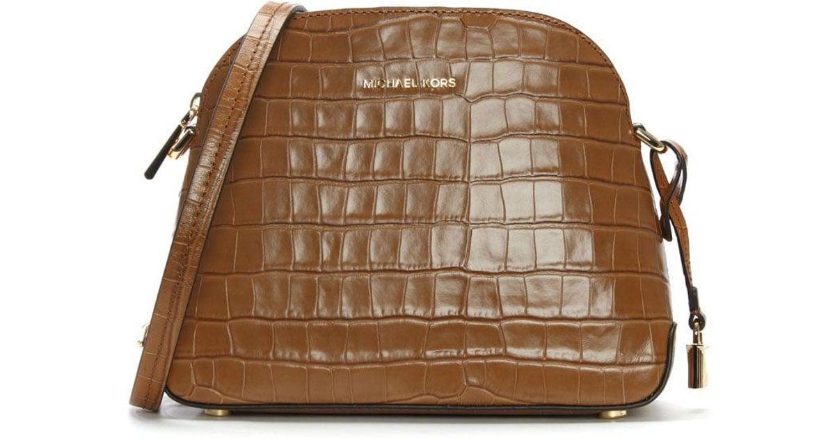 33a970880236 Michael Kors Mercer Acorn Moc Croc Leather Dome Messenger Bag in Brown -  Lyst