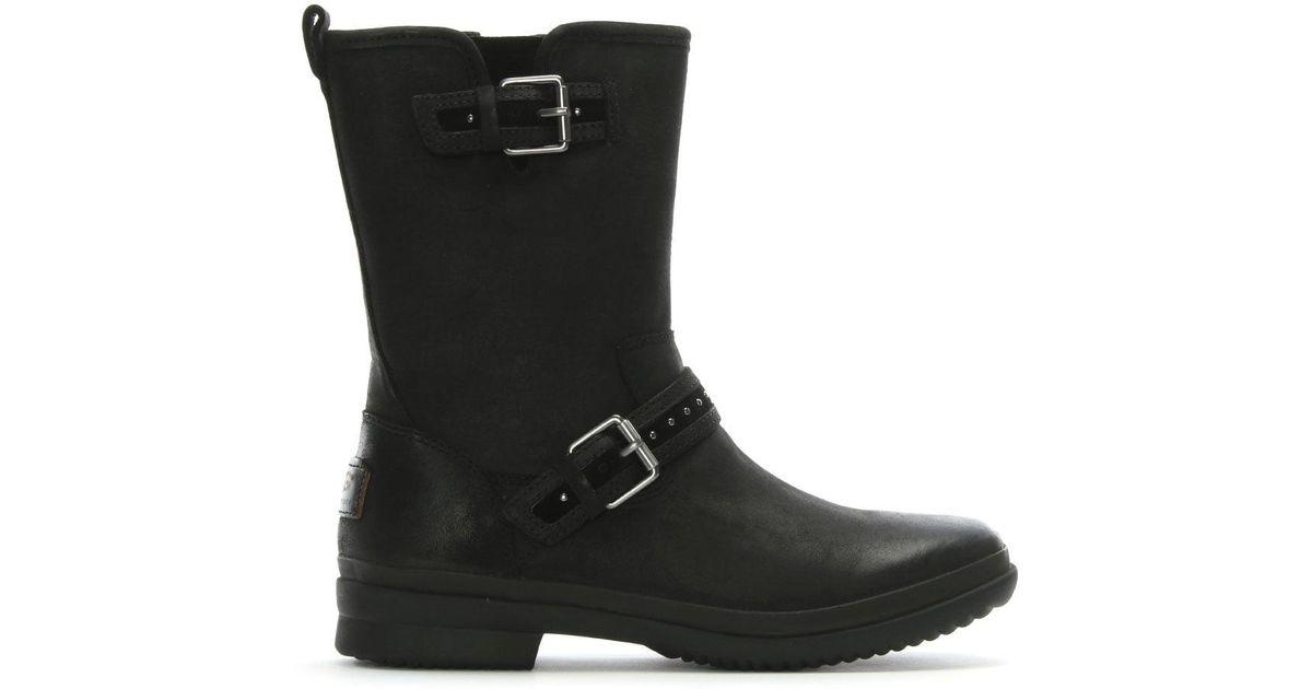 68c7af96a6e Ugg Jenise Black Leather Rain Boots