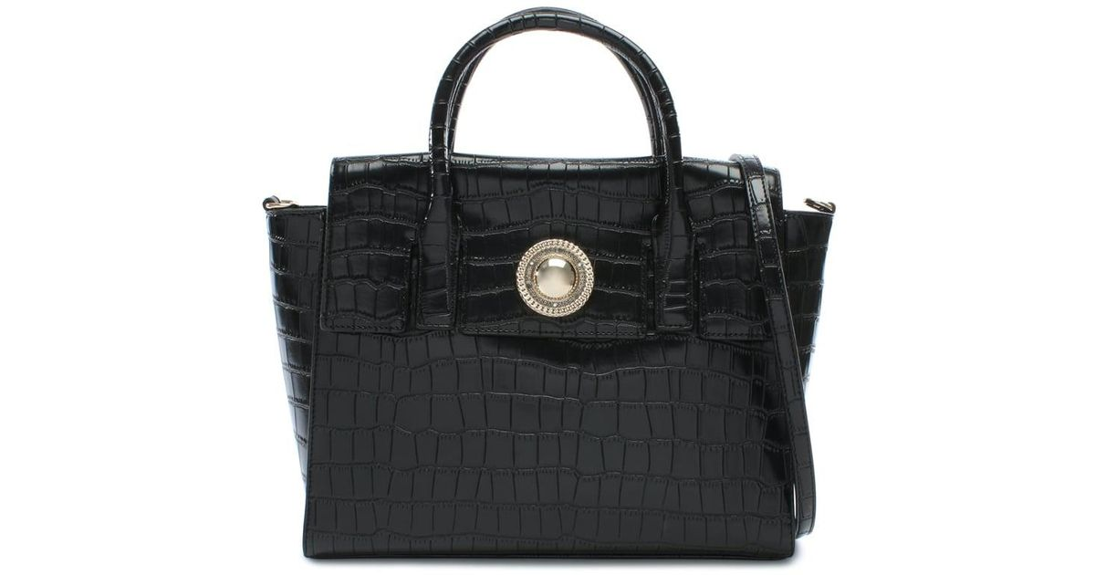 e56111b6dfd1 Lyst - Versace Jeans Plaque Black Moc Croc Satchel Bag in Black
