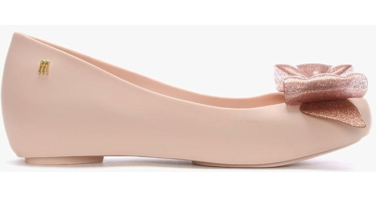 a8017cd0ea6a Lyst - Melissa Ultragirl Blush Glitter Sweet Bow Ballet Flats in Pink