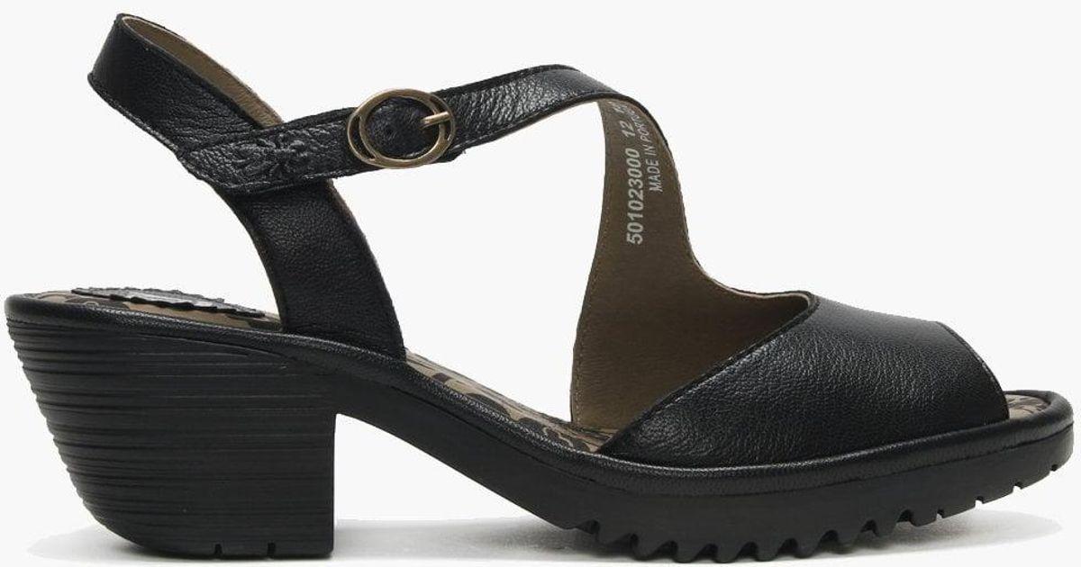 8e59401ce4 Lyst - Fly London Wyno Black Leather Asymmetric Block Heel Sandals in Black