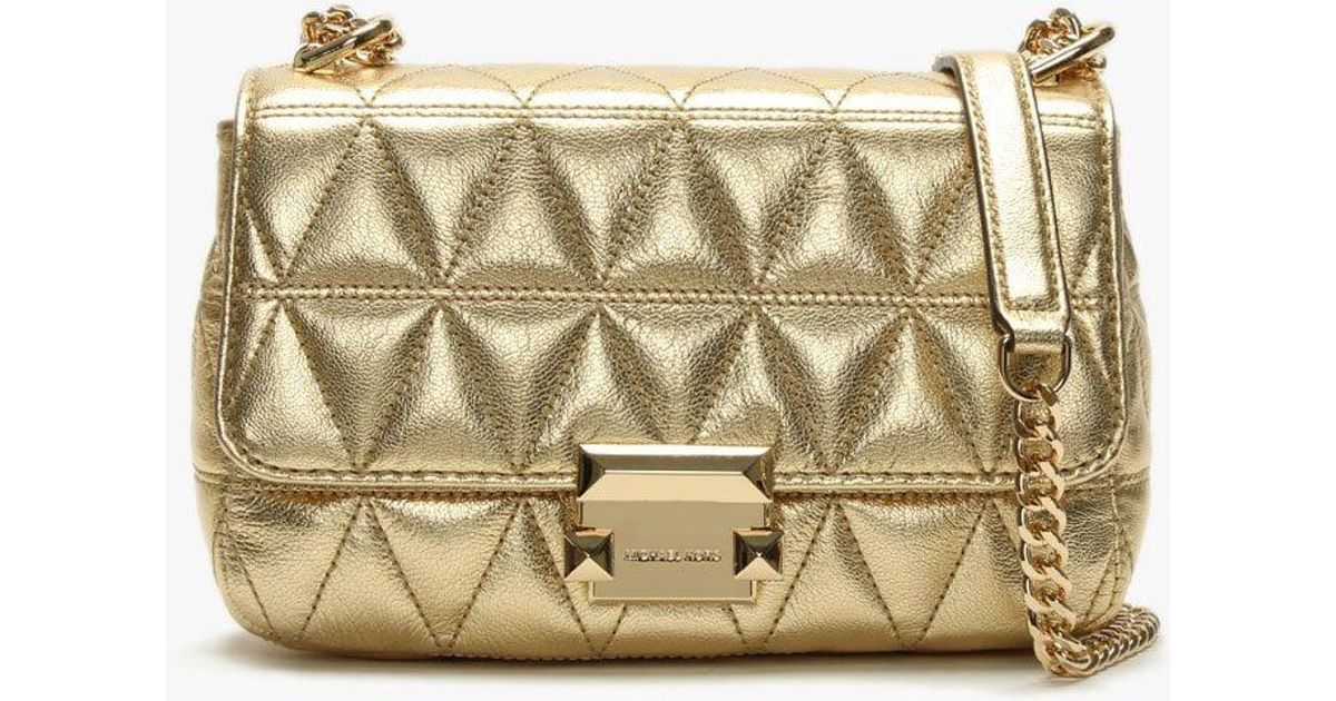 0813afc2e3f Michael Kors Small Sloan Ii Old Gold Quilted Leather Cross-body Bag Co in  Metallic - Lyst