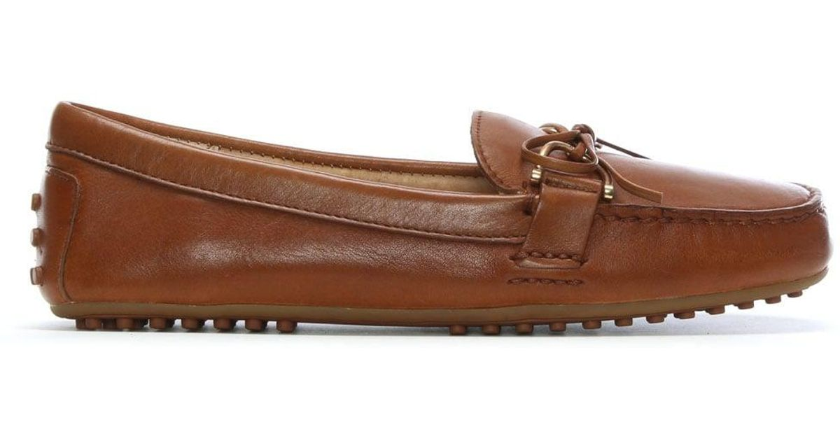 490e4a4a8f7 Lyst - Lauren by Ralph Lauren Briley Tan Leather Driving Loafers in Brown