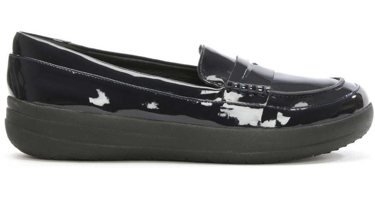 768a42a77f75 Lyst - Fitflop Sporty Navy Patent Leather Penny Loafer in Blue