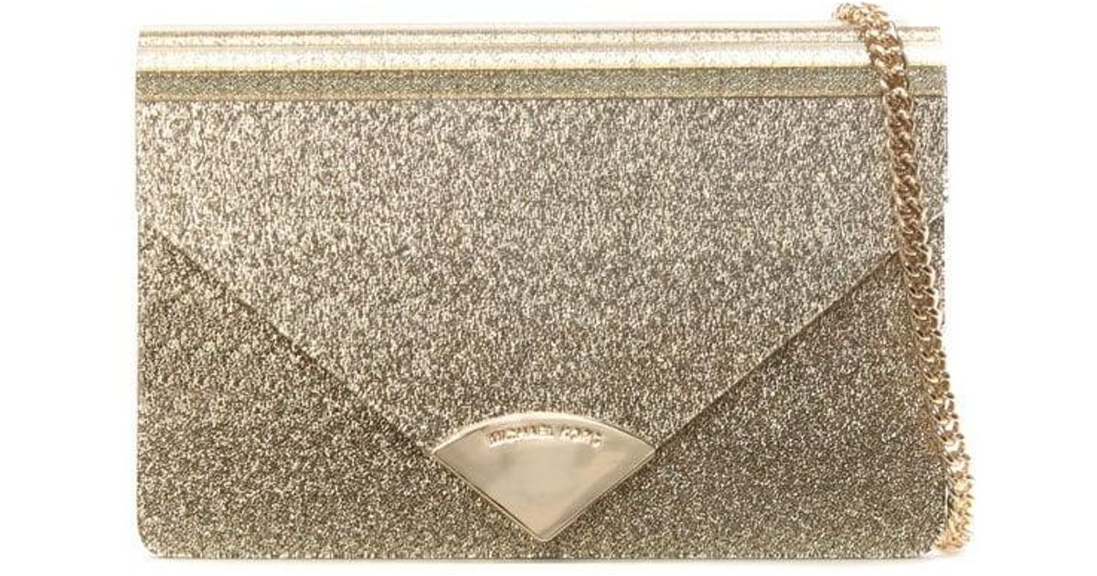 52f4b10bf869 Michael Kors Barbara Gold Metallic Envelope Clutch Bag in Metallic - Lyst