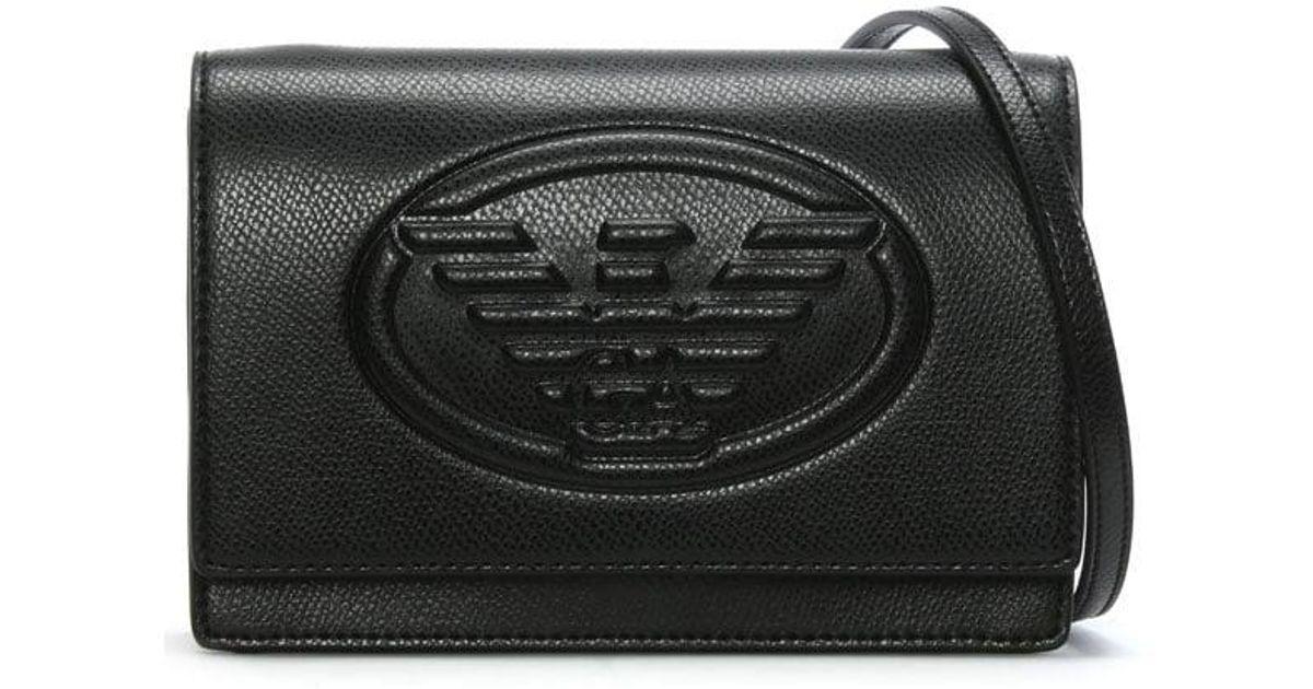 0f8f61a372 Emporio Armani Cholita Black Textured Logo Cross-body Bag