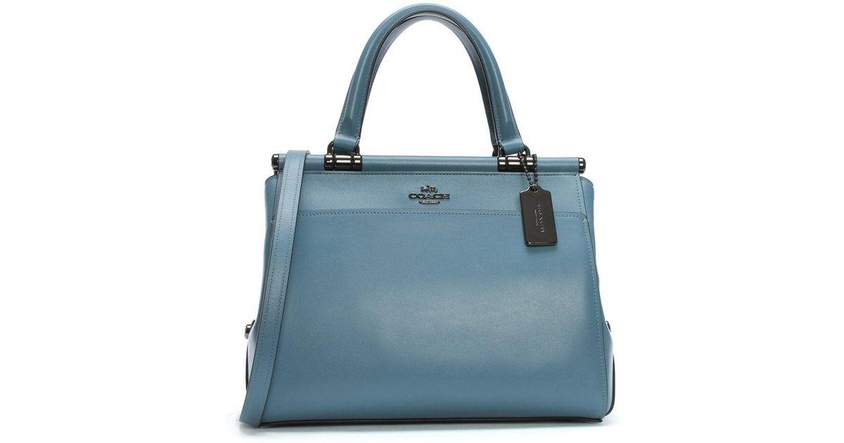 3df7efba40d8 Lyst - COACH Grace Dark Chambray Leather Satchel Bag in Blue