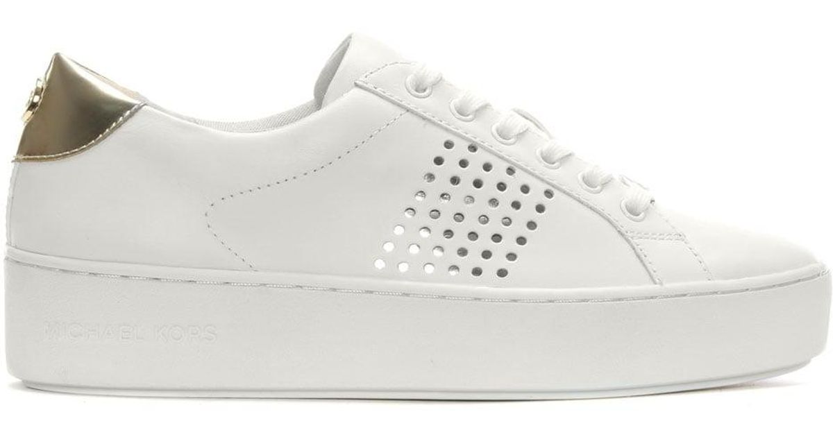 Perforated Michael Popper Leather White Sneakers Kors QdrCtsh