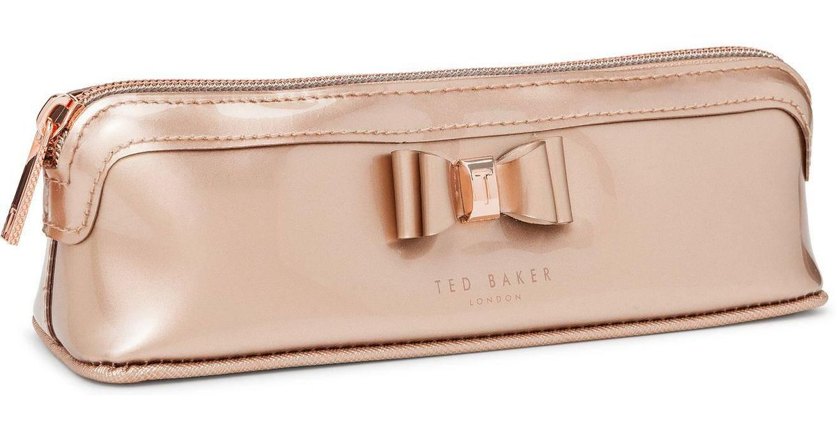 differently e214b f6a2d Ted Baker Pink Bow Triangle Pencil Case
