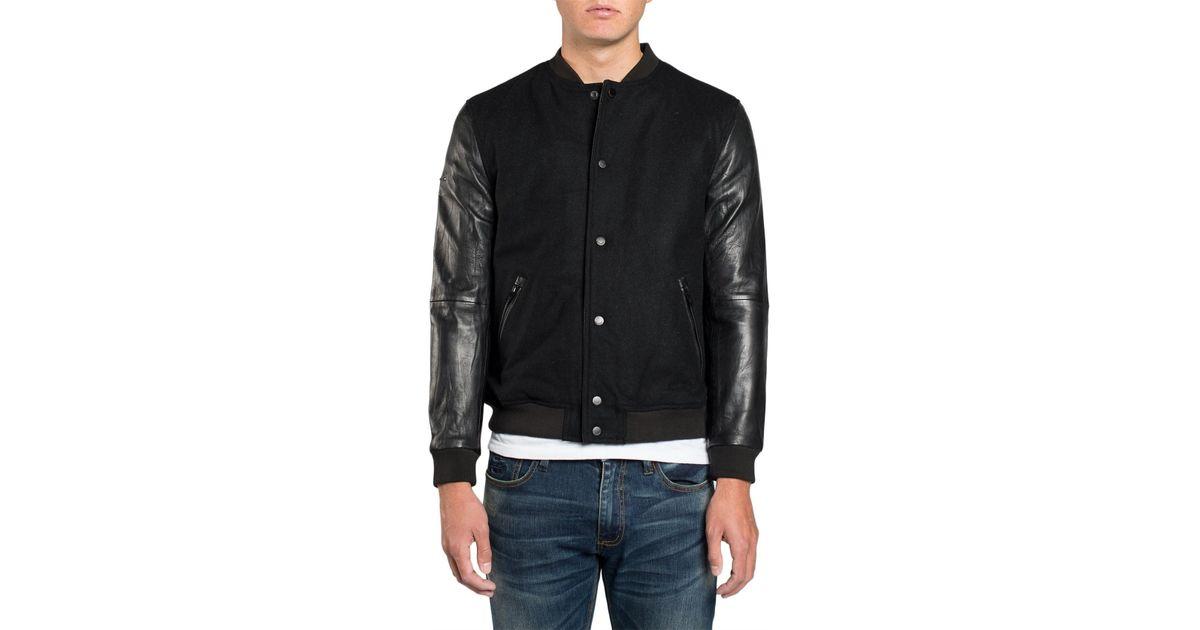 e1db2e7ec Superdry Black Varsity Wool Leather Bomber for men