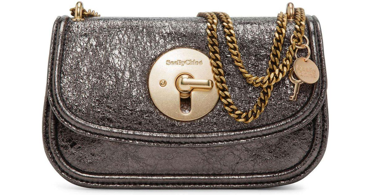 a112757835 See By Chloé Lois Mini Turn Lock Chain Handle in Black - Lyst