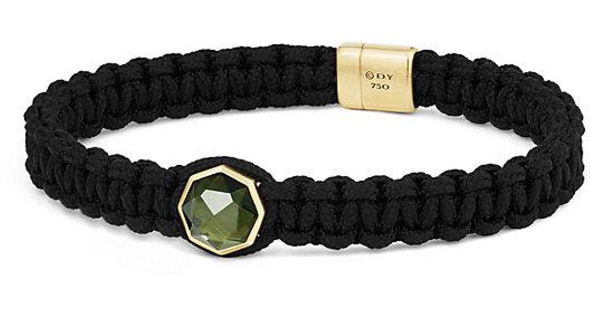 Lyst David Yurman Dy Fortune Woven Station Bracelet With Moldavite And 18k Gold 11mm In Black For Men