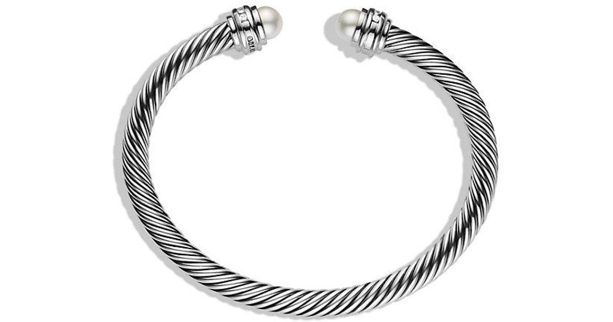 Lyst David Yurman Cable Clics Bracelet With Pearls And Diamonds 5mm In White