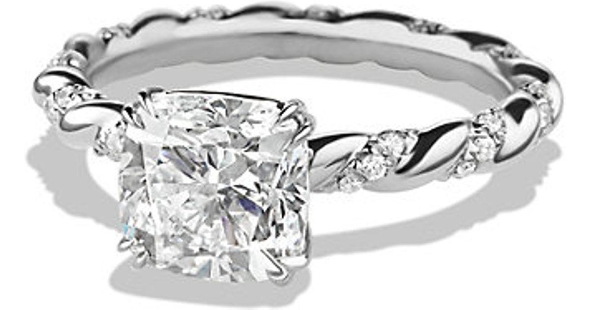 Lyst David Yurman Dy Unity Engagement Ring In Platinum Cushion Metallic