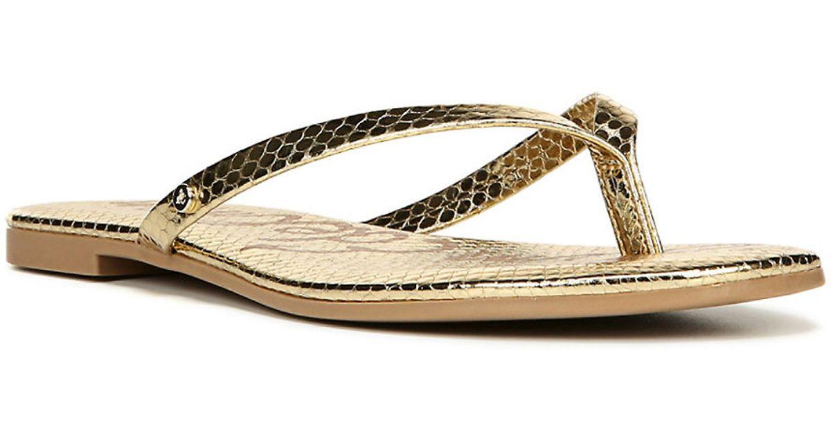 sam edelman oliver snakeprint thong sandals in metallic lyst. Black Bedroom Furniture Sets. Home Design Ideas
