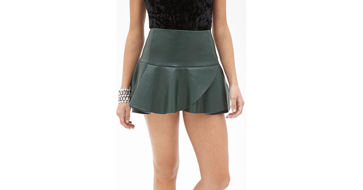 forever 21 fluted faux leather skirt in green lyst