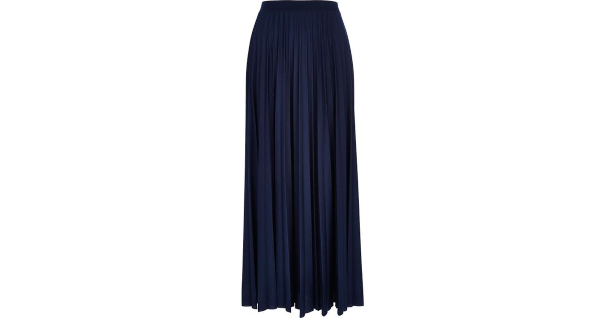 5ea75eb5f9e5 River Island Navy Blue Pleated Maxi Skirt in Blue - Lyst
