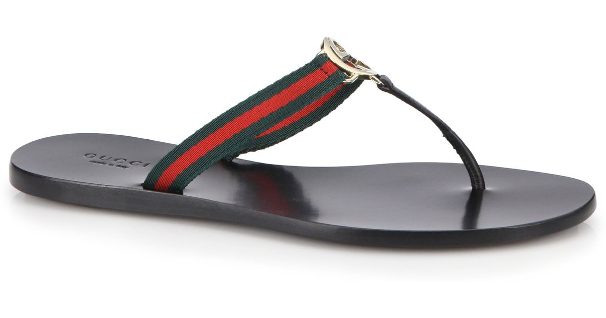 c94e41778690 Lyst - Gucci New Gg Canvas   Leather Signature Thong Sandals