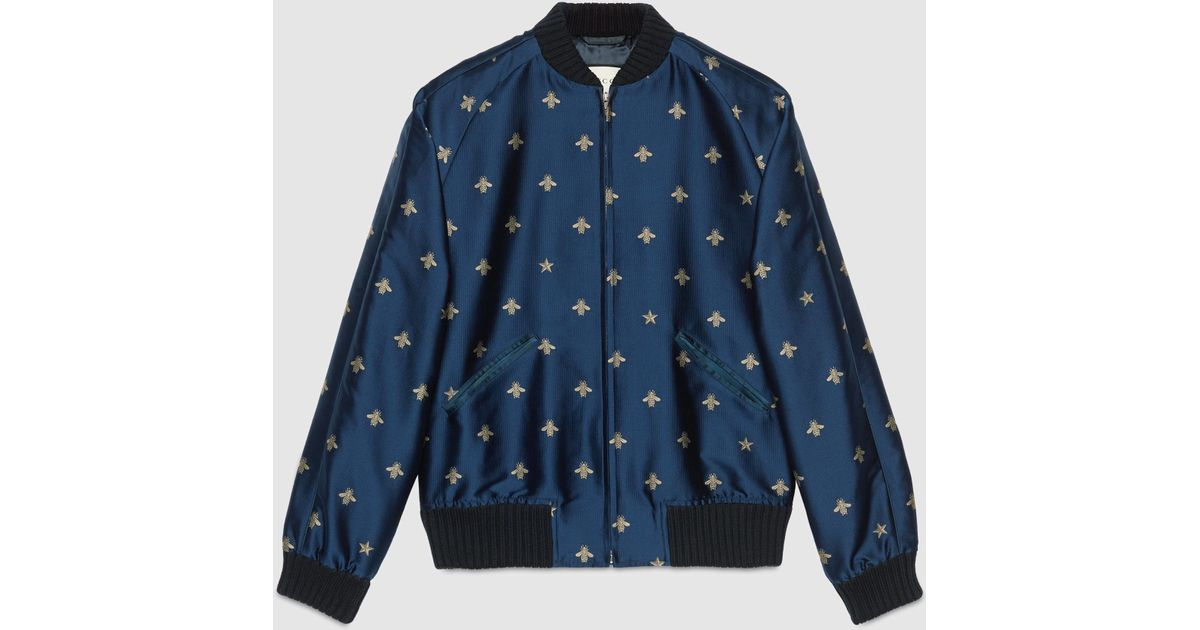 lyst gucci bee jacquard bomber jacket in blue for men