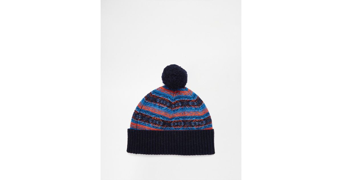Firetrap Mens Kilauea Bobble Hat Knitted Turn Up Cuff