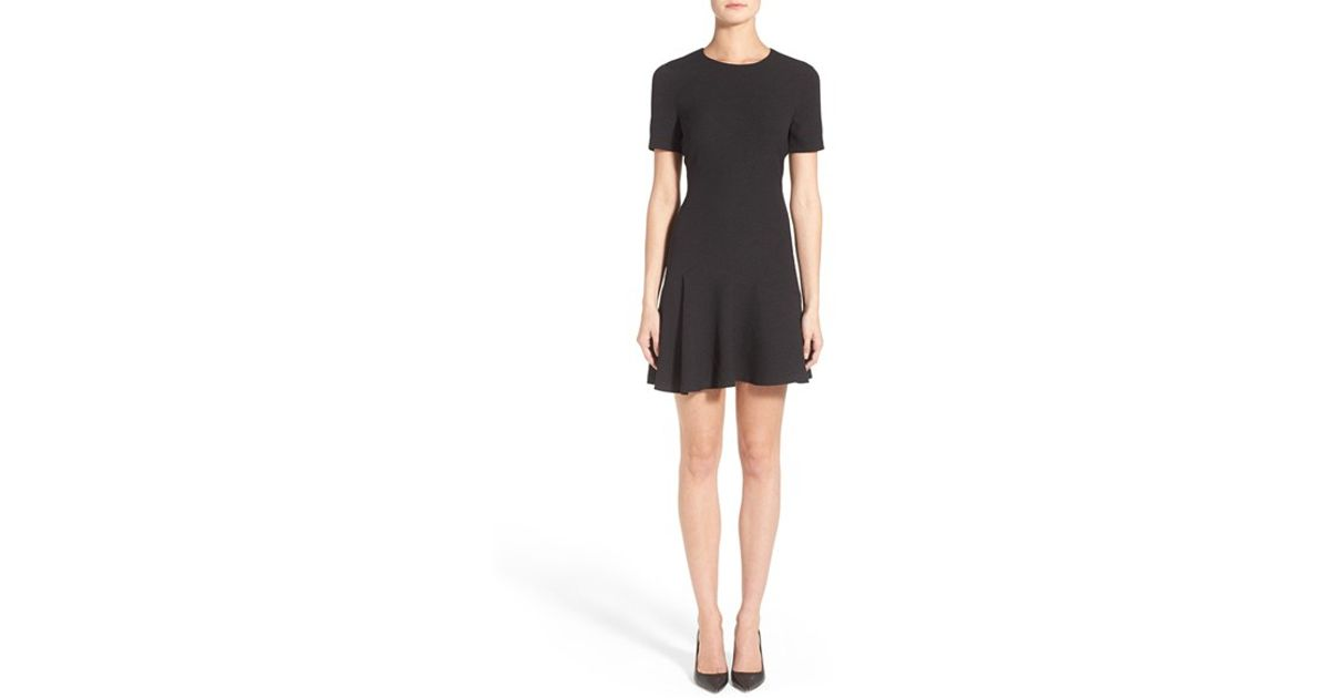 c87a201f7324fc Ivanka Trump Short Sleeve Jacquard Flounce Hem Dress in Black - Lyst