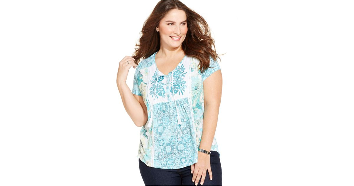 255ec171b25 Lyst - Style   Co. Plus Size Embroidered Mixed-print Peasant Top in Blue