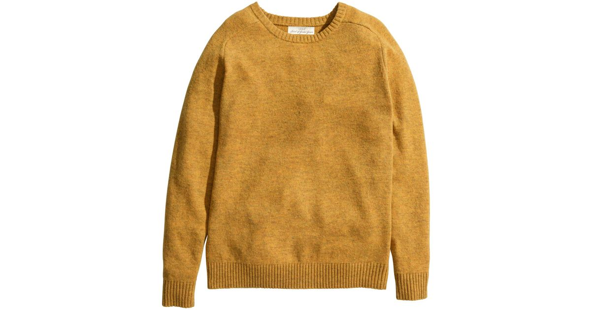 86b69a7660d7c H M Jumper In A Wool Blend in Yellow for Men - Lyst