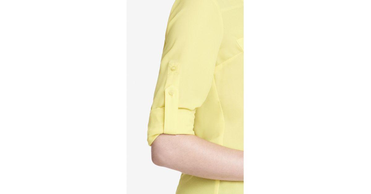 eb1b1745da706 Lyst - Express The Convertible Sleeve Portofino Shirt in Yellow
