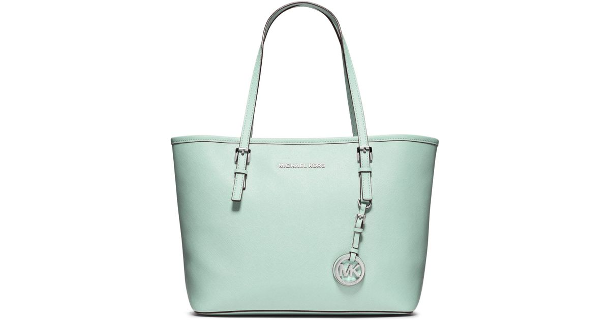 34764f3a477a61 Michael Kors Jet Set Travel Small Saffiano Leather Tote in Green - Lyst