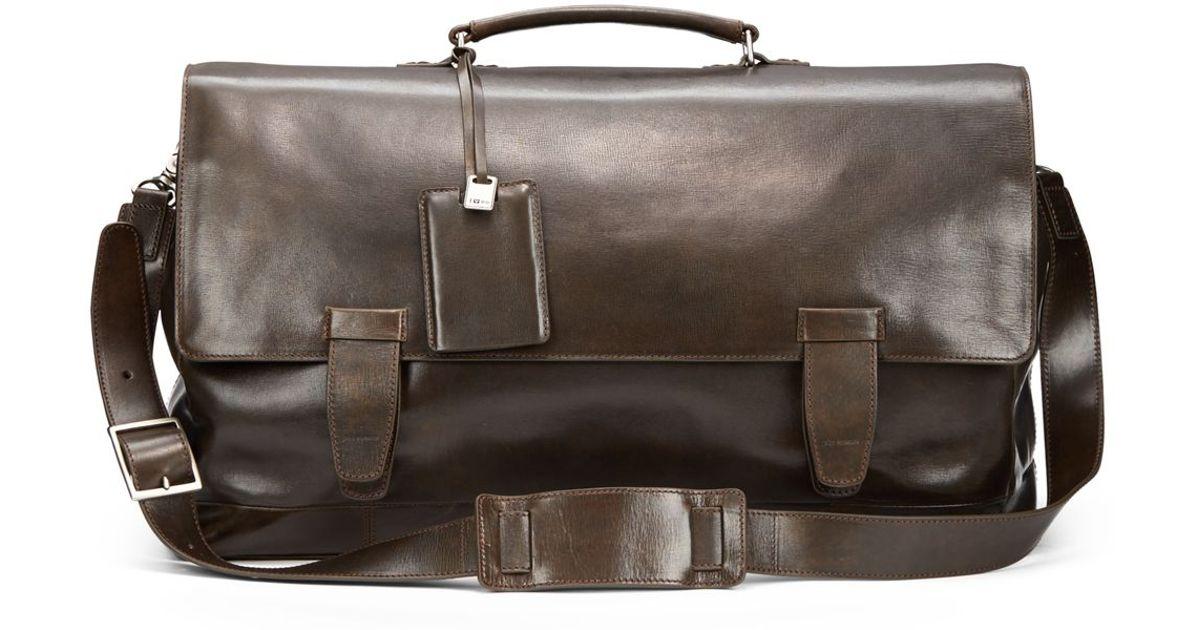 b844161fb685 John Varvatos Brown Modern Leather Messenger Bag for men