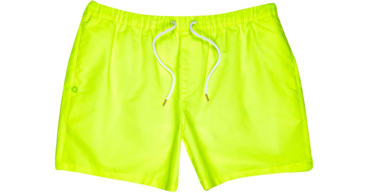 aacc642658 River Island Yellow Neon Mid Length Swim Shorts in Black for Men - Lyst