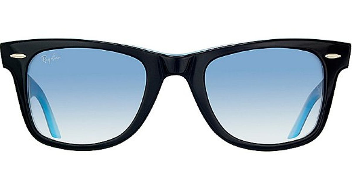 28b3234186968 ... new style lyst ray ban ray ban rb2140 original wayfarer 10013f black on  azure blue sunglasses