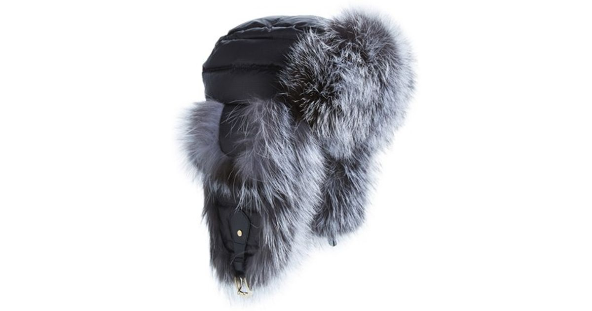 e23a9aa4e5a Lyst - Tasha Tarno Nylon   Genuine Fox Fur Trapper Hat in Black
